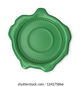 Green wax seal on white background