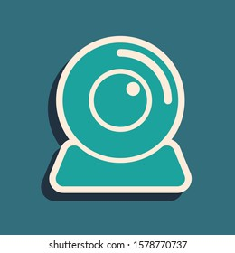 Green Web camera icon isolated on blue background. Chat camera. Webcam icon. Long shadow style.