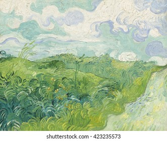 Green Wheat Fields, Auvers, by Vincent van Gogh, 1890, Dutch Post-Impressionist painting, oil on canvas. Painted in the last months of his life, Van Gogh's painted with broad calligraphic strokes. Th