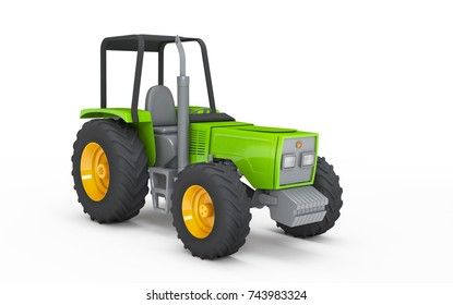 Green wheel harvesting tracktor isolated on white background. 3D illustration. Front side view. Perspective