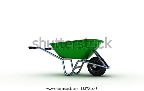 green wheelbarrow isolated on white background