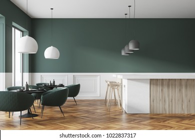 Green and white cafe interior with a wooden floor, round black tables and green chairs. A bar with stools. 3d rendering mock up