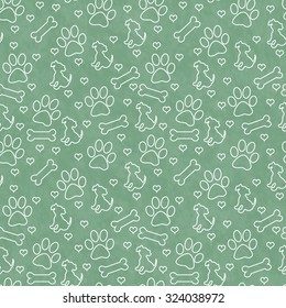 Green and White Dog Paw Prints, Puppy, Bone and Hearts Tile Pattern Repeat Background that is seamless and repeats