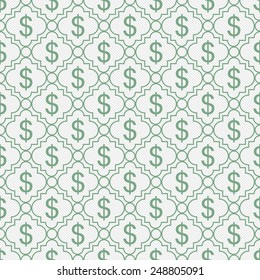 Green and White Dollar Sign Pattern Repeat Background that is seamless and repeats