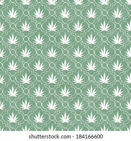 Green and White Marijuana Leaf Pattern Repeat Background that is seamless and repeats