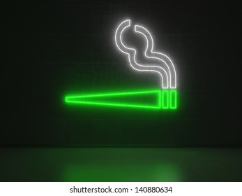 A green and white Neon Sign in Form of a Cigarette on a Wall of Concrete
