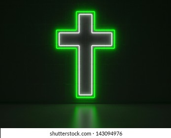 A green and white Neon Sign in Form of a Christian Cross on a Wall of Concrete