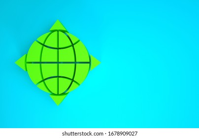Green World globe with compass icon isolated on blue background. Minimalism concept. 3d illustration 3D render