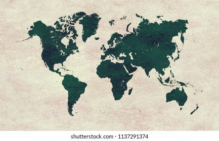 Green World map on paper grunge background