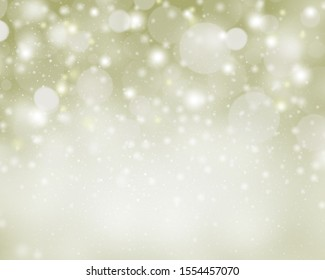 Green yellow abstract background with snow and bokeh starts light  blurred for Christmas new year.
