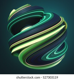 Green yellow abstract twisted shape on dark background. Computer generated geometric illustration. 3D rendering