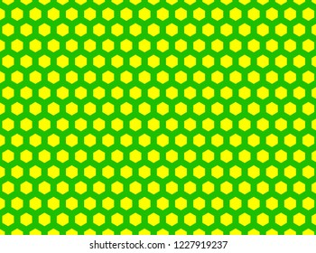 Green and Yellow Hexegon Honeycomb Pettern Background