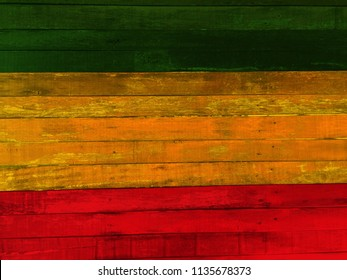 Green yellow red On wood wall,Reggae background