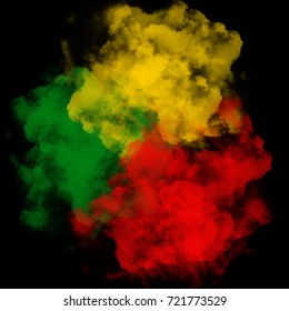 Green yellow red smoke background, reggae background