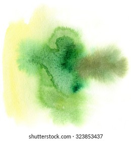 Green and yellow spots, watercolor abstract hand painted background. Autumn palette. Watercolour texture.