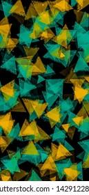 Green and yellow  transparent Traingle shape pattern illustration on black background.