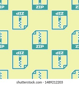 Green ZIP file document icon. Download zip button icon isolated seamless pattern on yellow background. ZIP file symbol