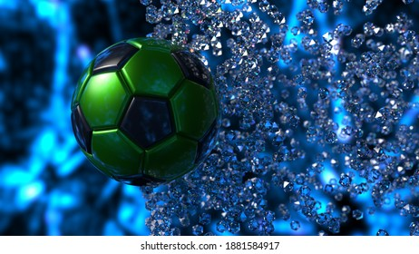 Green-Black Soccer Ball with diamond particles under blue flare lighting. 3D illustration. 3D CG. 3D high quality rendering.
