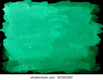 Green-Blue saturated watercolor background, luscious palette. Abstract canvas with paper texture.
