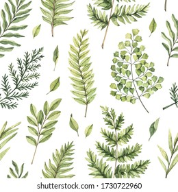Greenery watercolor seamless pattern. Botanical background with green branches, leaves and fern illustrations. Floral Design. Perfect for invitations, wrapping paper, textile, fabric, poster, packing