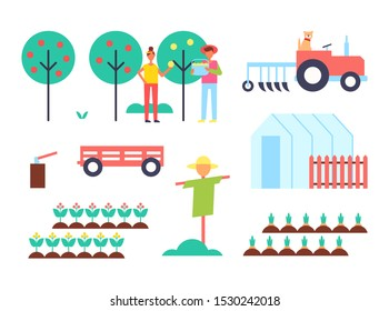 Greenhouse and tractor farming machinery and plantation. Fruit trees and farmers gathering harvest scarecrow and hothouse carrots in ground raster