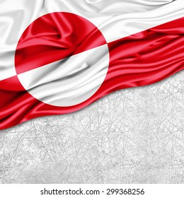 Greenland  flag of silk with copyspace for your text or images and wall background
