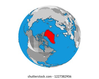 Greenland on blue political 3D globe. 3D illustration isolated on white background.