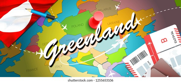 Greenland travel concept map background with planes, tickets. Visit Greenland travel and tourism destination concept. Greenland flag on map. Planes and flights to Nuuk holidays to Sisimiut,Ilulissat