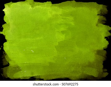 Green-Yellow saturated watercolor background, luscious palette. Abstract canvas with paper texture.