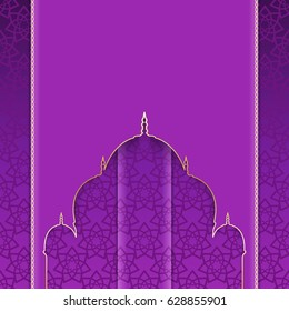 Greeting background with pattern to Muslim holidays. Ornate purple card with cut silhouette of mosque. Rasterized version