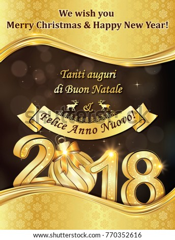 greeting card 2018 with text in italian and english designed for the holiday season - Merry Christmas In Italian Translation