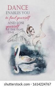 Greeting card for ballerina. Beautiful ballerina, Swan Lake. Watercolor illustration