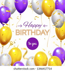 Greeting card with balloons. Happy birthday shining flying helium balloon and golden shiny confetti for greetings presents cards poster celebration party birth holiday  template
