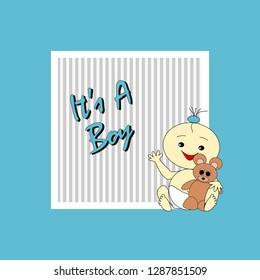 Greeting card to birth of a cute boy