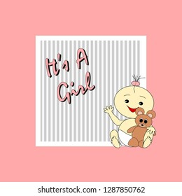 Greeting card to birth of a cute girl