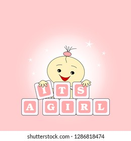 Greeting card to birth - It's a girl
