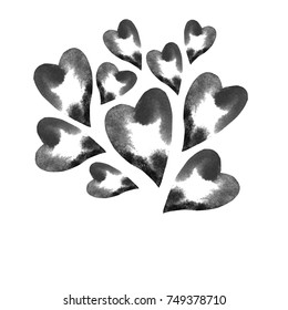 Greeting card with black and white hearts on white background