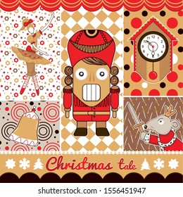 greeting card with Cute cartoon character nutcracker, Mouse King, Old clock, Ballerina characters in yellow ballet skirts and man ballet dancer dressed in yellow tights and pointe
