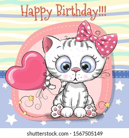 greeting card cute cartoon kitten 260nw