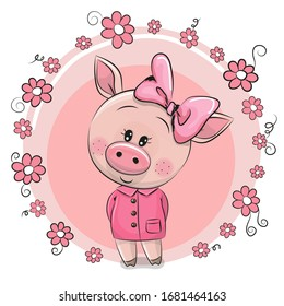 Greeting card Cute Cartoon Pig with flowers