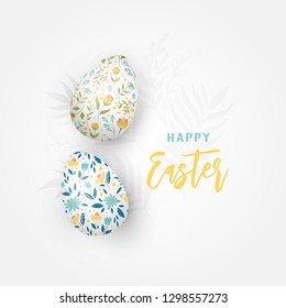 Greeting card with Easter eggs and  floral ornament isolated on white background. Happy Easter.  Illustration