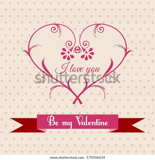 Greeting card with floral heart for Valentine's Day. Raster version