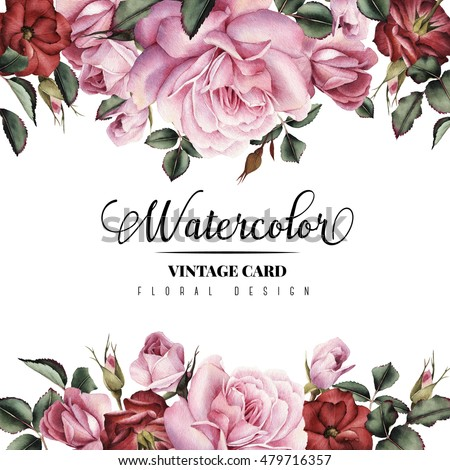 Greeting Card With Flowers Watercolor Can Be Used As Invitation For Wedding