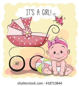 Greeting card it's a girl with baby and carriage