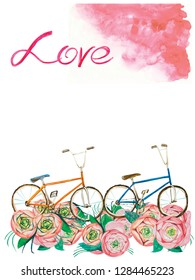 greeting card for the girl romance air bike trip birthday trip confession with lettering love watercolor pink sky flowers roses wine