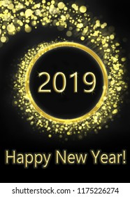 greeting card with happy new year, gold and black with inscription happy new year 2019