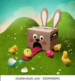 Greeting card , illustration or poster from box  Bunny and the egg and Chick for the Easter holiday.