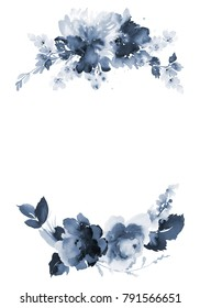 Greeting card in indigo scale. Flowers on a white background