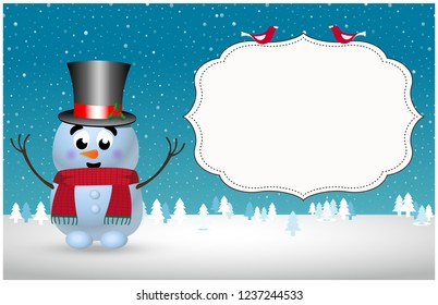greeting card invitation flyer template of cute cartoon snowman in top hat and scarf