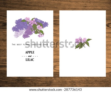 Greeting Card Made Of Hand Drawn Apple Tree And Lilac Colorful Botanical Vintage Illustration